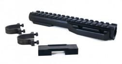 """Газовая трубка VS-33x Weaver, 16 слотов для карабинов АК-систем, с """"хомутами"""", сплав Д16Т, черная, 174мм., 137гр"""