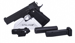 Пистолет пневм. Stalker SA5.1S Spring (аналог Hi-Capa 5.1) + имит.ПБС+ЛЦУ, к.6мм, мет.корп., маг.16шар, до 80м/с, черный