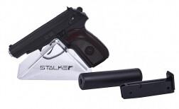 Пистолет пневм. Stalker SAPS Spring (аналог ПМ) + имит.ПБС, к.6мм, мет.корпус, магазин 12шар, до 80м/с, черный