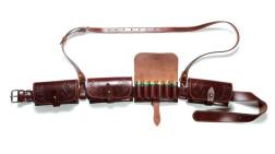 VEKTOR Патронташ из натуральной кожи со съемными подсумками и дополнительным поддерживающим ремнем