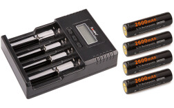 Комплект Soshine: зарядное устройство SC-H4 + 4 АКБ 18650 (2600 мАч)
